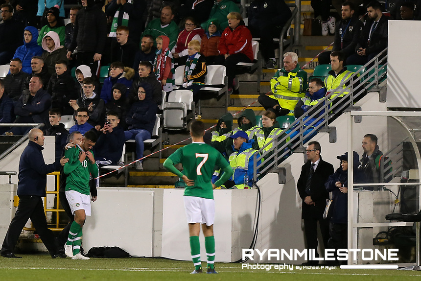 EVENT:<br /> UEFA European U21 Championship Qualifier Group 1 Republic of Ireland v Italy<br /> Thursday 10th October 2019,<br /> Tallaght Stadium, Dublin<br /> <br /> CAPTION:<br /> Troy Parrott of Republic of Ireland leaves the field after been sent off<br /> <br /> Photo By: Michael P Ryan