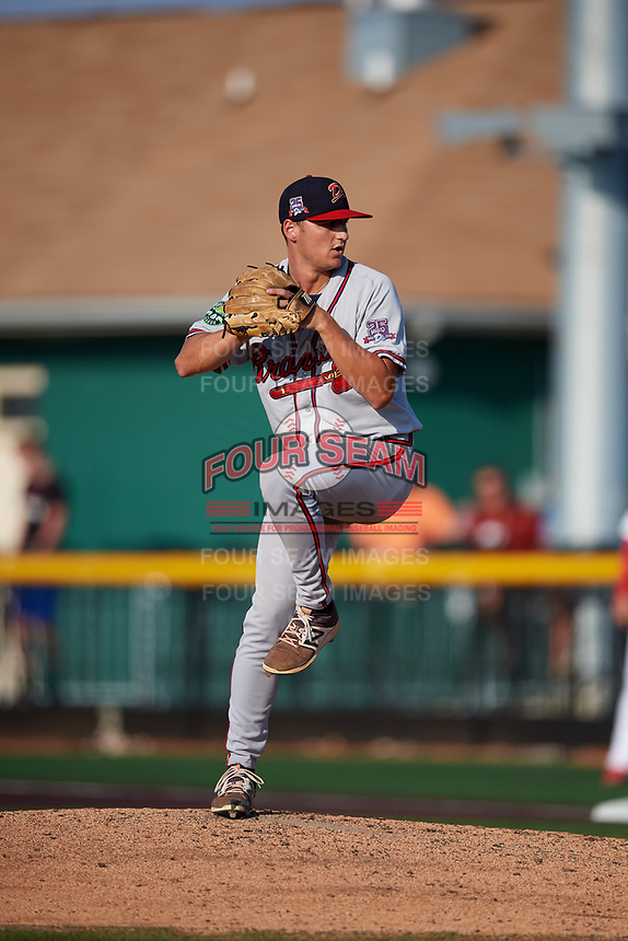 Danville Braves relief pitcher Bradey Welsh (53) delivers a pitch during a game against the Johnson City Cardinals on July 29, 2018 at TVA Credit Union Ballpark in Johnson City, Tennessee.  Johnson City defeated Danville 8-1.  (Mike Janes/Four Seam Images)