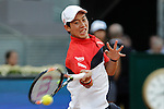 Nishikori Kei from Japan during his Madrid Open tennis tournament semifinal match against Andy Murray from UK in Madrid, Spain. May 09, 2015. (ALTERPHOTOS/Victor Blanco)