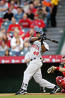 Torii Hunter of the Minnesota Twins during a 2007 MLB season game against the Los Angeles Angels at Angel Stadium in Anaheim, California. (Larry Goren/Four Seam Images)