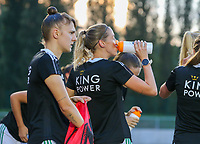 Charlotte Cranshoff (18) of OHL drinking water during the warm up before a female soccer game between FC Femina White Star Woluwe and Oud Heverlee Leuven on the fourth matchday in the 2021 - 2022 season of Belgian Scooore Womens Super League , Friday 10 th of September 2021  in Woluwe , Belgium . PHOTO SPORTPIX | SEVIL OKTEM