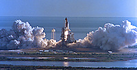 Space Shuttle Discovery blasts off from Kennedy Space Center carrying her crew of seven: Commander Ronald J. Grabe, Pilot Stephen S. Oswald, Mission Specialists Norman E. Thagard, David C. Hilmers, William F. Readdy and Payload Specialists Roberta L. Bondar and Ulf D. Merbold to begin the STS 42 mission on January 22, 1992, Titusville, FL. (Photo by Brian Cleary/www.bcpix.com)