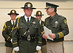 Carson City Sheriff Kenny Furlong, right, talks about newly promoted Sgt. Bill Richards, left, during a ceremony at the Carson City Sheriff's Office in Carson City, Nev., on Wednesday, April 24, 2013. .Photo by Cathleen Allison