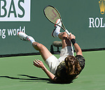 Stefanos Tsitsipas (GRE) is defeated by Nikoloz Basilashvili (GEO) 4-6, 6-2, 4-6, at the BNP Paribas Open being played at Indian Wells Tennis Garden in Indian Wells, California on October 15,2021: ©Karla Kinne/Tennisclix/CSM
