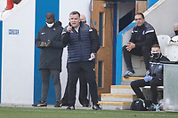 Alan Morgan, Assistant Manager, Marine AFC encourages his team on during Colchester United vs Marine, Emirates FA Cup Football at the JobServe Community Stadium on 7th November 2020