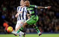 Andre Ayew of Swansea City shoots at goal during the Barclays Premier League match between West Bromwich Albion and Swansea City at The Hawthorns on the 2nd of February 2016