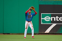 Clearwater Threshers outfielder Nicolas Torres (11) catches a fly ball during a game against the Fort Myers Mighty Mussels on July 29, 2021 at BayCare Ballpark in Clearwater, Florida.  (Mike Janes/Four Seam Images)