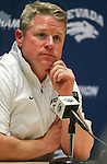 Nevada Head Coach Brian Polian answers media questions following a 31-24 loss to Colorado State in an NCAA college football game in Reno, Nev., on Saturday, Oct. 11, 2014. (AP Photo/Cathleen Allison)