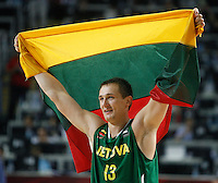 Paulius JANKUNAS (Lithuania) celebrates after victory over Serbia, 3rd Place World championship basketball match in Istanbul, Serbia-Lithuania, Turkey on Sunday, Sep. 12, 2010. (Novak Djurovic/Starsportphoto.com)