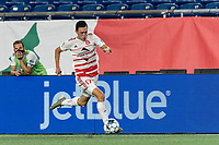 FOXBOROUGH, MA - AUGUST 21: Jonathan Bolanos #17 of Richmond Kickers dribbles down the wing during a game between Richmond Kickers and New England Revolution II at Gillette Stadium on August 21, 2020 in Foxborough, Massachusetts.