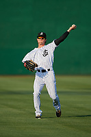 Jackson Generals center fielder Evan Marzilli (45) warms up before a game against the Chattanooga Lookouts on April 29, 2017 at The Ballpark at Jackson in Jackson, Tennessee.  Jackson defeated Chattanooga 7-4.  (Mike Janes/Four Seam Images)
