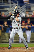 Mahoning Valley Scrappers third baseman Gavin Collins (44) at bat during a game against the Batavia Muckdogs on August 18, 2016 at Dwyer Stadium in Batavia, New York.  Batavia defeated Mahoning Valley 2-1.  (Mike Janes/Four Seam Images)
