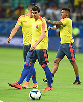 SALVADOR – BRASIL, 15-06-2019: John Stefan Medina de Colombia calienta previo al partido de la Copa América Brasil 2019, grupo B, entre Argentina y Colombia jugado en el Itaipava Fonte Nova Arena de la ciudad de Salvador, Brasil. / John Stefan Medina of Colombia warms up prior the Copa America Brazil 2019 group B match between Argentina and Colombia played at Itaipava Fonte Nova Arena in Salvador, Brazil. Photos: VizzorImage / Julian Medina / Cont / FCF