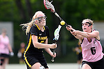 GER - Hannover, Germany, May 31: During the Women Lacrosse Playoffs 2015 match between KIT SC Karlsruhe (pink) and HTHC Hamburg (black) on May 31, 2015 at Deutscher Hockey-Club Hannover e.V. in Hannover, Germany. (Photo by Dirk Markgraf / www.265-images.com) *** Local caption *** Josi Probst #5 of HTHC Hamburg