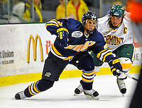 16 November 2008: Merrimack College Warriors' forward Francois Ouimet, a Sophomore from Lorraine, Quebec, in action against the University of Vermont Catamounts at Gutterson Fieldhouse, in Burlington, Vermont. The Catamounts defeated the Warriors 2-1 in front of a near-capacity crowd of 3,813...Mandatory Photo Credit: Ed Wolfstein Photo