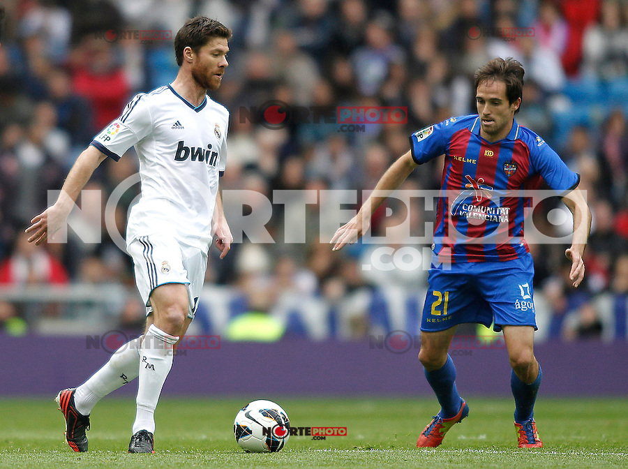 Real Madrid's Sergio Ramos and Levante's Michel during La Liga BBVA match. April 6, 2013.(ALTERPHOTOS/Alconada)
