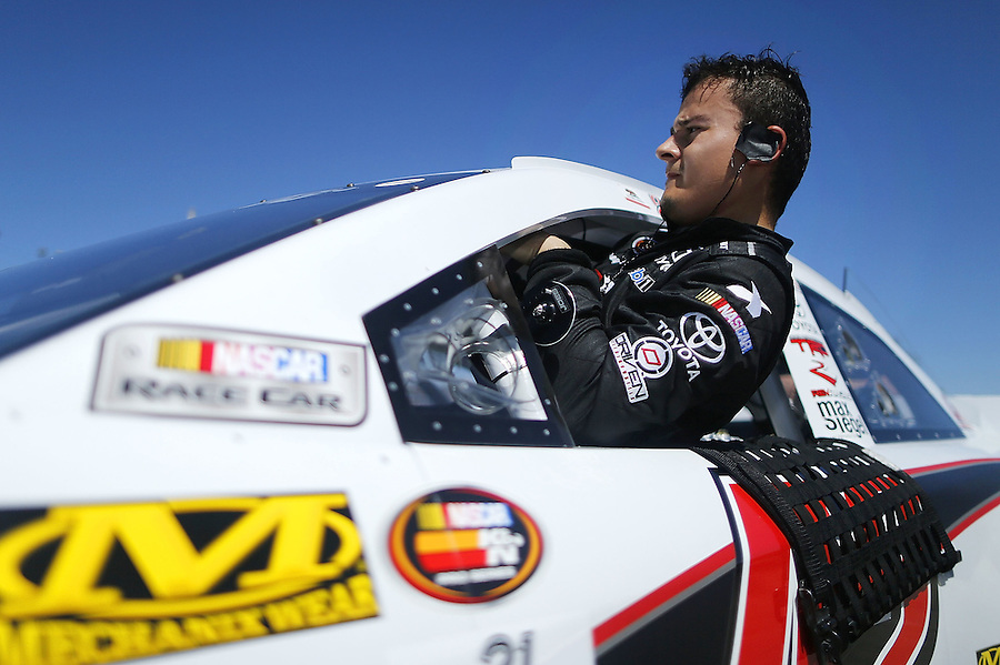 MOBILE, AL - MARCH 13: Jairo Avila Jr., driver of the #42 Rev Racing Toyota, gets out of his car during qualifying for the NASCAR K&N Pro Series East Mobile 150 on March 13, 2016 in Mobile, Alabama.  (Photo by Jonathan Bachman/NASCAR via Getty Images)