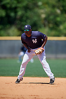 New York Yankees Chris Gittens (85) during a Minor League Spring Training game against the Detroit Tigers on March 21, 2018 at the New York Yankees Minor League Complex in Tampa, Florida.  (Mike Janes/Four Seam Images)