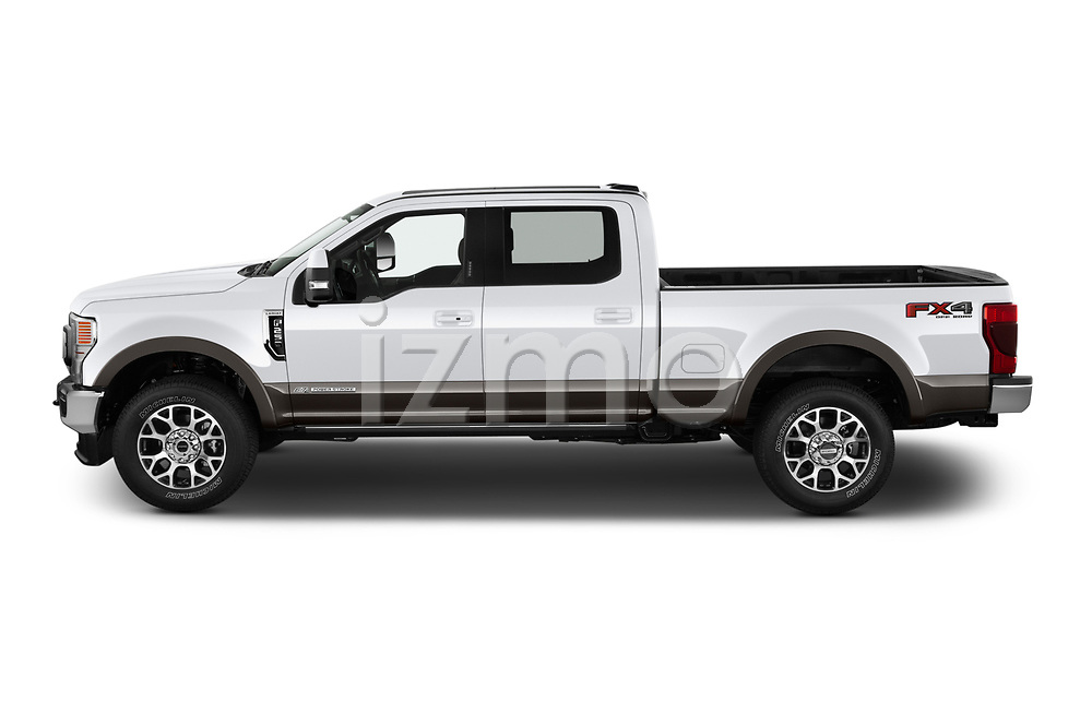 Car Driver side profile view of a 2021 Ford F-250-Super-Duty Lariat 4 Door Pick-up Side View