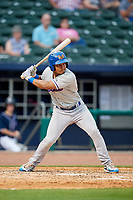 Midland RockHounds shortstop Richie Martin (12) at bat during a game against the Northwest Arkansas Naturals on May 27, 2017 at Arvest Ballpark in Springdale, Arkansas.  NW Arkansas defeated Midland 3-2.  (Mike Janes/Four Seam Images)