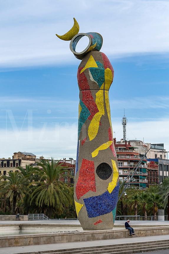 Joan Miró's Dona i Ocell , in the Parc de Joan Miró, Barcelona, Spain