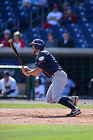 Cal State Fullerton Titans infielder Timmy Richards (13) at bat during a game against the Alabama State Hornets on February 15, 2015 at Bright House Field in Clearwater, Florida.  Alabama State defeated Cal State Fullerton 3-2.  (Mike Janes/Four Seam Images)