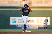 AZL Indians 1 catcher Eric Rodriguez (12) stands on second base during an Arizona League game against the AZL White Sox at Goodyear Ballpark on June 20, 2018 in Goodyear, Arizona. AZL Indians 1 defeated AZL White Sox 8-7. (Zachary Lucy/Four Seam Images)