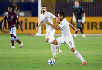 CARSON, CA - SEPTEMBER 19: Jonathan dos Santos #8  of the Los Angeles Galaxy moves with the ball during a game between Colorado Rapids and Los Angeles Galaxy at Dignity Heath Sports Park on September 19, 2020 in Carson, California.