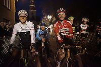 2 Worldtour fish out of the water: Kenny De Haes (BEL/Lotto-Soudal) & Boy van Poppel (NLD/Trek Factory Racing), 2 world class road-racers (both sprinters) at the start of a cyclocross race<br /> <br /> Superprestige Diegem 2015