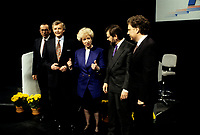 FILE PHOTO :  <br /> <br /> Kim Campbell<br /> during the 1993 conservative party leadership  campaign debate in Montreal in April 1993.<br /> Jean Charest in on the extreme right<br /> <br /> Photo :  Pierre Roussel  - Agence Quebec Presse