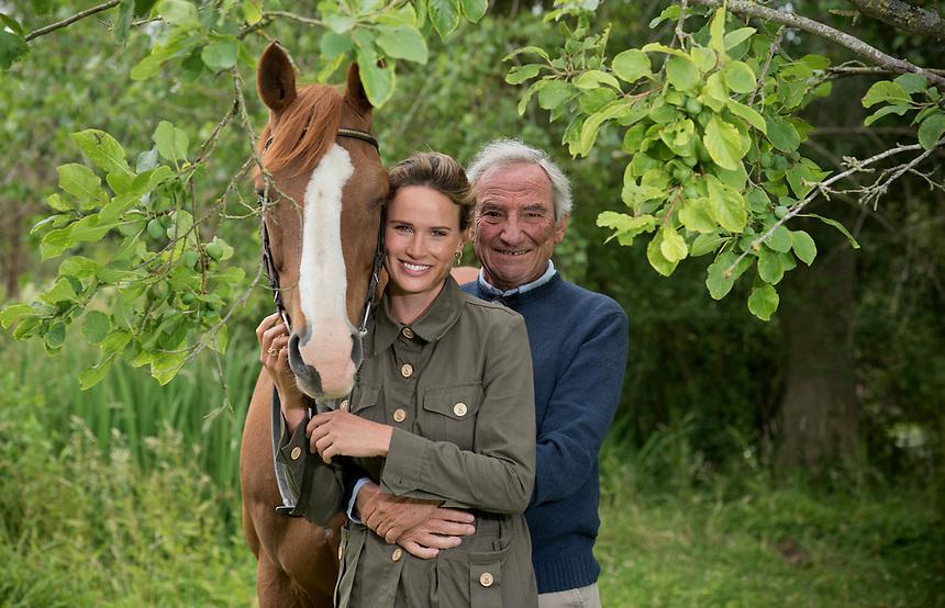 Horse breeder Luca Cumani, with his daughter, ITV racing presenter Francesca Cumani and their horse Purple Moon.