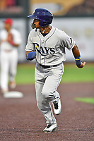 Princeton Rays shortstop Wander Franco (6) runs to third base during a game against the Johnson City Cardinals at TVA Credit Union Ballpark on August 9, 2018 in Johnson City, Tennessee. The Rays defeated the Cardinals 10-2. (Tony Farlow/Four Seam Images)
