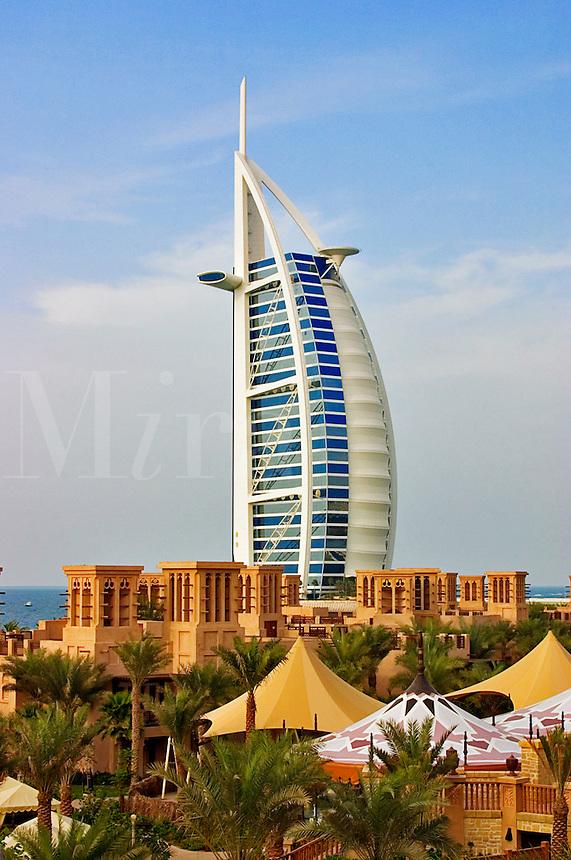 Dubai, United Arab Emirates. Burj al Arab Hotel and Madinat Jumeirah. ..