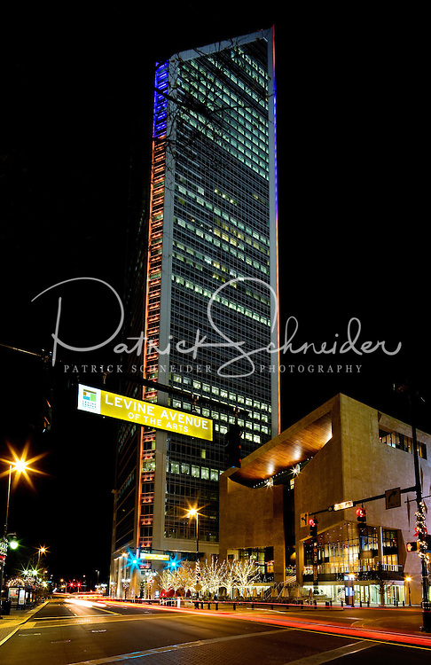 The Duke Energy Center and Mint Museum Uptown at night in Uptown / Downtown / Center City Charlotte. Photo taken December 2010.