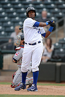 Peoria Javelinas outfielder Jorge Bonifacio (22), of the Kansas City Royals organization, during an Arizona Fall League game against the Surprise Scorpions on October 9, 2013 at Scottsdale Stadium in Scottsdale, Arizona.  Surprise defeated Peoria 9-5.  (Mike Janes/Four Seam Images)