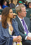 Wimbledon Champ Marion Bartoli and ESPNs Patrick McEnroe listen at  the 2015 Induction Ceremony at the International Tennis Hall of Fame, Newport, RI USA.  The ceremony took place on July 18, 2015