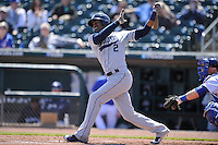 New Orleans Zephyrs Destin Hood (2) swings during the game against the Iowa Cubs  at Principal Park on April 13, 2016 in Des Moines, Iowa.  The Cubs won 9-5 .  (Dennis Hubbard/Four Seam Images)