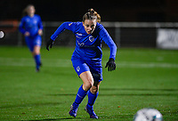 Luna Vanhoudt (43) of KRC Genk pictured during a female soccer game between  Racing Genk Ladies and AA Gent Ladies on the eleventh matchday of the 2020 - 2021 season of Belgian Scooore Womens Super League , friday 22 th of January 2021  in Genk , Belgium . PHOTO SPORTPIX.BE | SPP | DAVID CATRY