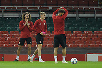 Ethan Ampadu (left) of Wales during the Wales Training Session at The Principality Stadium in Cardiff, Wales, UK. Wednesday 10 October 2018