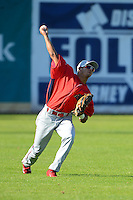 Williamsport Crosscutters outfielder Gustavo Martinez #24 during practice before a game against the Jamestown Jammers on June 20, 2013 at Russell Diethrick Park in Jamestown, New York.  Jamestown defeated Williamsport 12-6.  (Mike Janes/Four Seam Images)