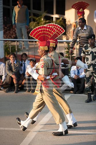 Amritsar, Punjab, India.  Guards on Parade. at the gateway between India and Pakistan.