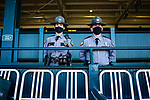 November 6, 2020: Two police officers stand guard in the grandstand before Future Stars Friday racing begins at Keeneland Racetrack in Lexington, Kentucky, on Friday, November 6, 2020. Scott Serio/Eclipse Sportswire/Breeders Cup/CSM