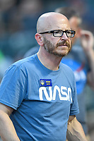 President John Katz of the Columbia Fireflies wears the NASA-theme shirt before game two of a doubleheader against the Rome Braves on Saturday, August 19, 2017, at Spirit Communications Park in Columbia, South Carolina. Columbia won, 1-0. (Tom Priddy/Four Seam Images)