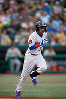 Brooklyn Cyclones Wilmer Reyes (30) runs to first base during a NY-Penn League game against the Tri-City ValleyCats on August 17, 2019 at MCU Park in Brooklyn, New York.  Brooklyn defeated Tri-City 2-1.  (Mike Janes/Four Seam Images)