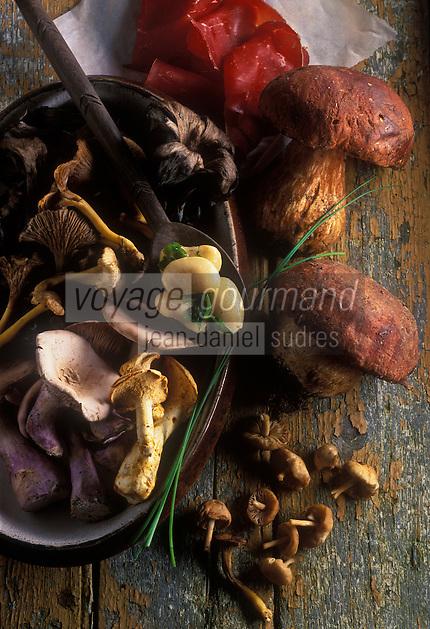 Gastronomie générale: Têtes de cèpes farcies à l'ail, persil et champignons - Ingrédients
