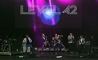 level 42 on stage<br /> UB40 concert at Parc Y Scarlets, Llanelli, Wales, UK. Saturday 10 June 2017