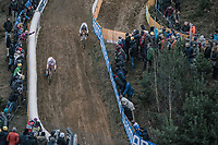 World Champion Wout Van Aert (BEL/Crelan Charles) and Mathieu Van Der Poel (NED/Beobank Corendon) descending <br /> <br /> Elite Men's Race<br /> UCI CX World Cup Zolder / Belgium 2017