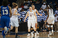 NORFOLK, VA--Lindy La Rocque enjoys a bucket against Hampton University at the Ted Constant Convocation Center at Old Dominion University in Norfolk, VA in the first round of the 2012 NCAA Championships. The Cardinal advanced with a 73-51 win to play West Virginia on Monday, March 19.