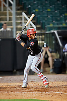 Chattanooga Lookouts shortstop Engelb Vielma (2) at bat during a game against the Jackson Generals on April 27, 2017 at The Ballpark at Jackson in Jackson, Tennessee.  Chattanooga defeated Jackson 5-4.  (Mike Janes/Four Seam Images)