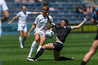 BRIDGEVIEW, IL - JUNE 5: Havana Solaun #19 of the North Carolina Courage and Vanessa DiBernardo #10 of the Chicago Red Stars battle for the ball during a game between North Carolina Courage and Chicago Red Stars at SeatGeek Stadium on June 5, 2021 in Bridgeview, Illinois.